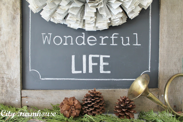 My Christmas Mantle & Recycled Project #6-Rustic Palette Board Chalkboard