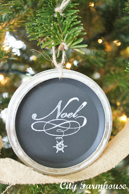 Mason Jar Chalkboard Lid Ornaments-Recycled Christmas Project #7