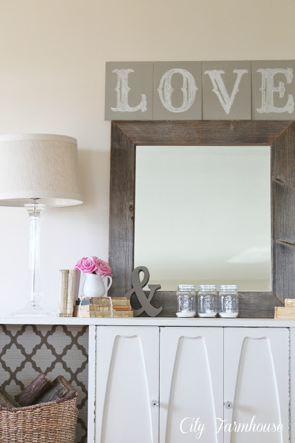 "French Linen ""LOVE"" Chalkboard Sign & V-Day Vignette"