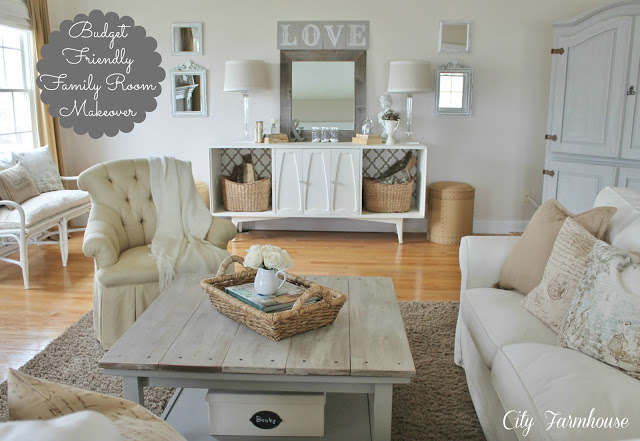 Family Room Reveal-Thrifty, Pretty & Functional - City Farmhouse on