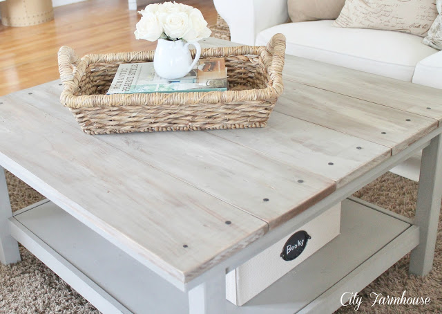 Ikea hacked barnboard coffee table tutorial city farmhouse - Customiser une table basse ...