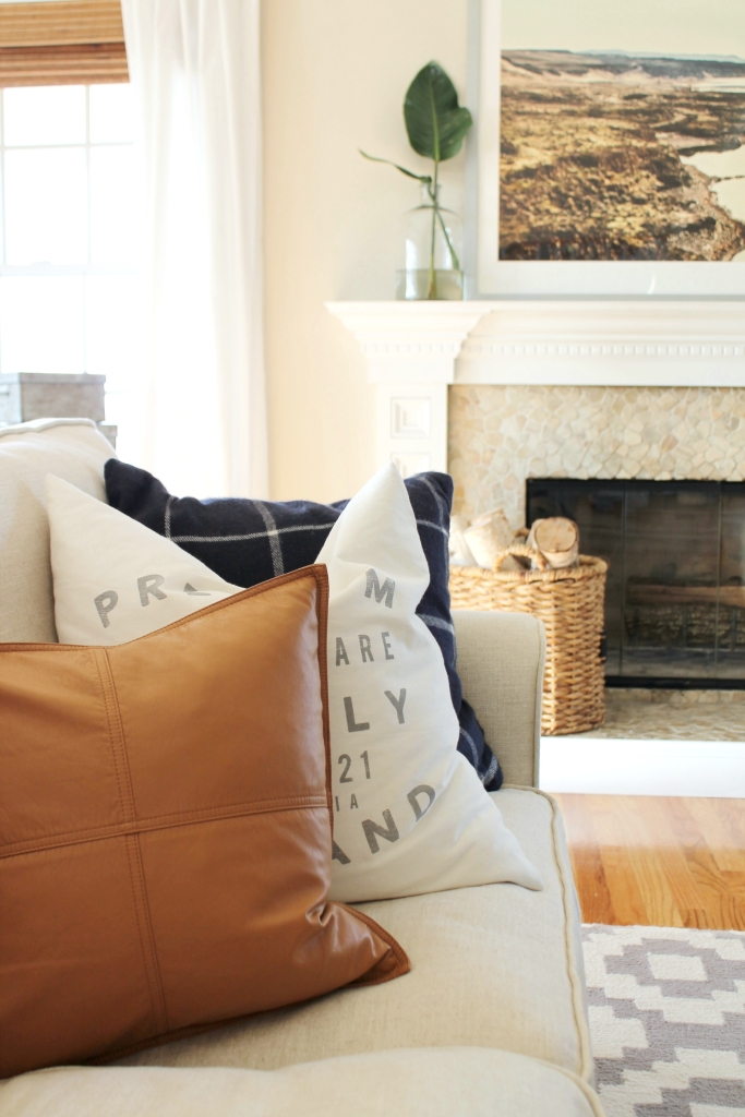 City Farmhouse-How To Style A Mantle-Adding Greenery