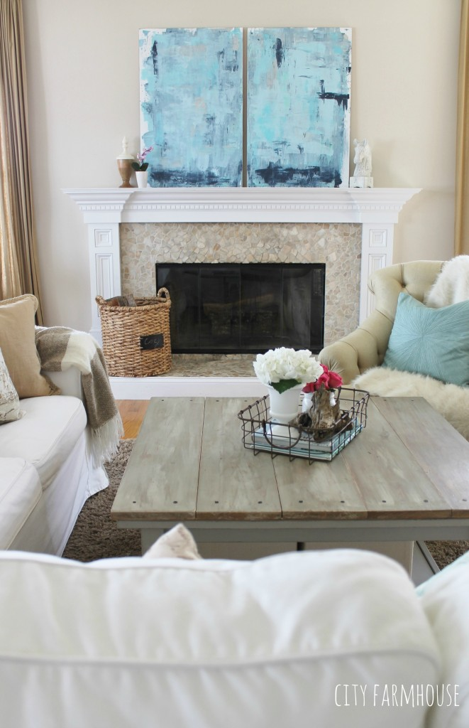 DIY Abstract Art-Love the pop of color with all white slipcovers & neutral furnishings