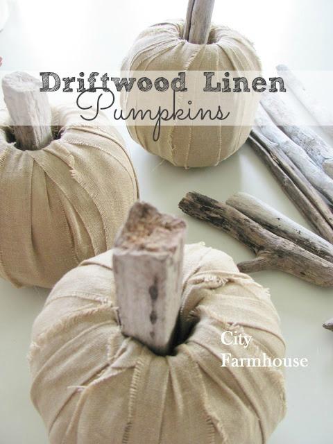 DIY Linen Driftwood Pumpkins