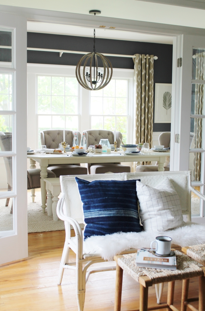 Summer Tour-Dining Room-Rattan Settee, Mudcloth Pillows & Target Stools