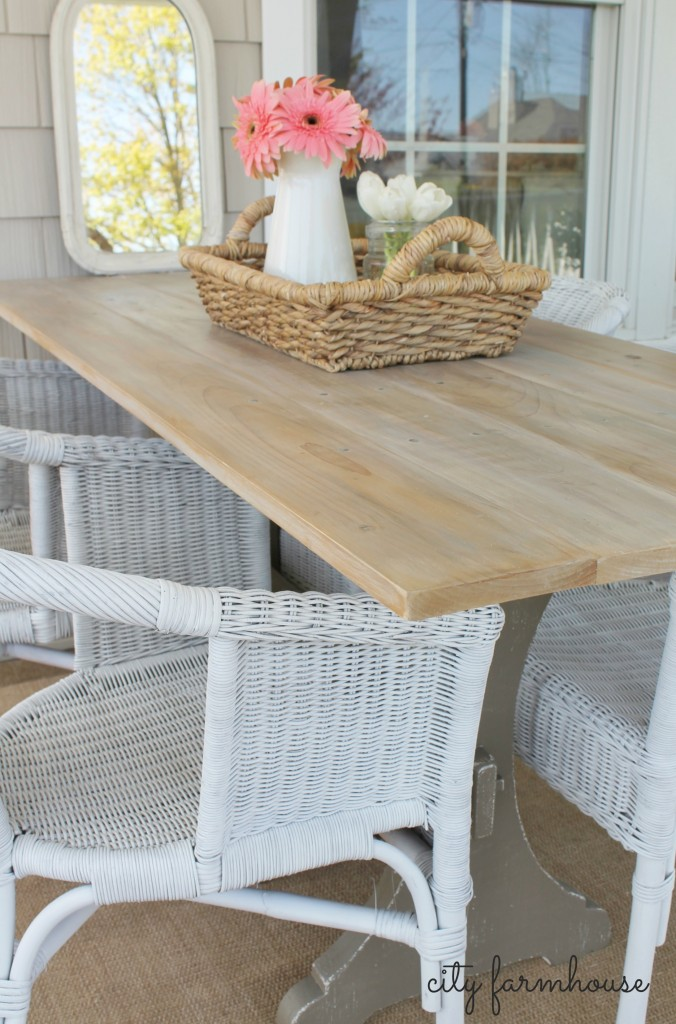 CF farmhouse table with DIY aged boards