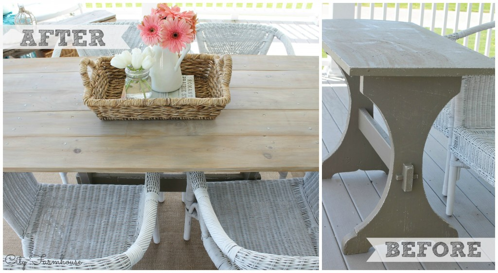 City Farmhouse-How to build the easiest farm table before & after