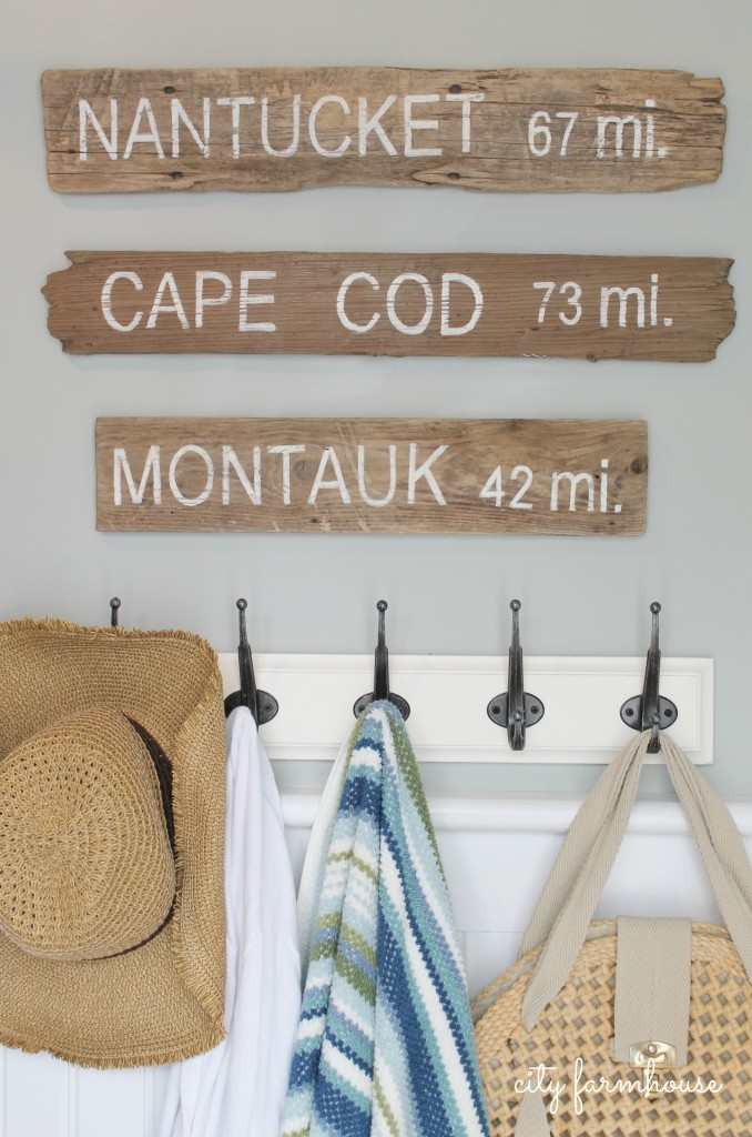 PB Inspired Beach Signs Nantucket, Cape Cod & Montauk Made With Driftwood 2