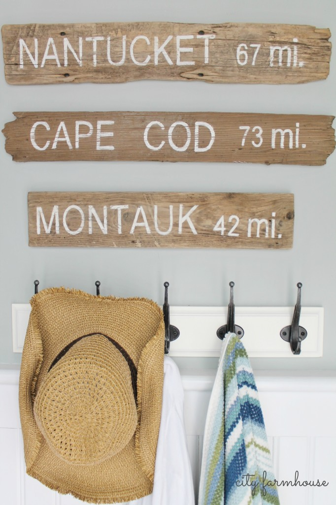 PB Inspired Coastal Sign Trio Made From Driftwood-Full Tutorial