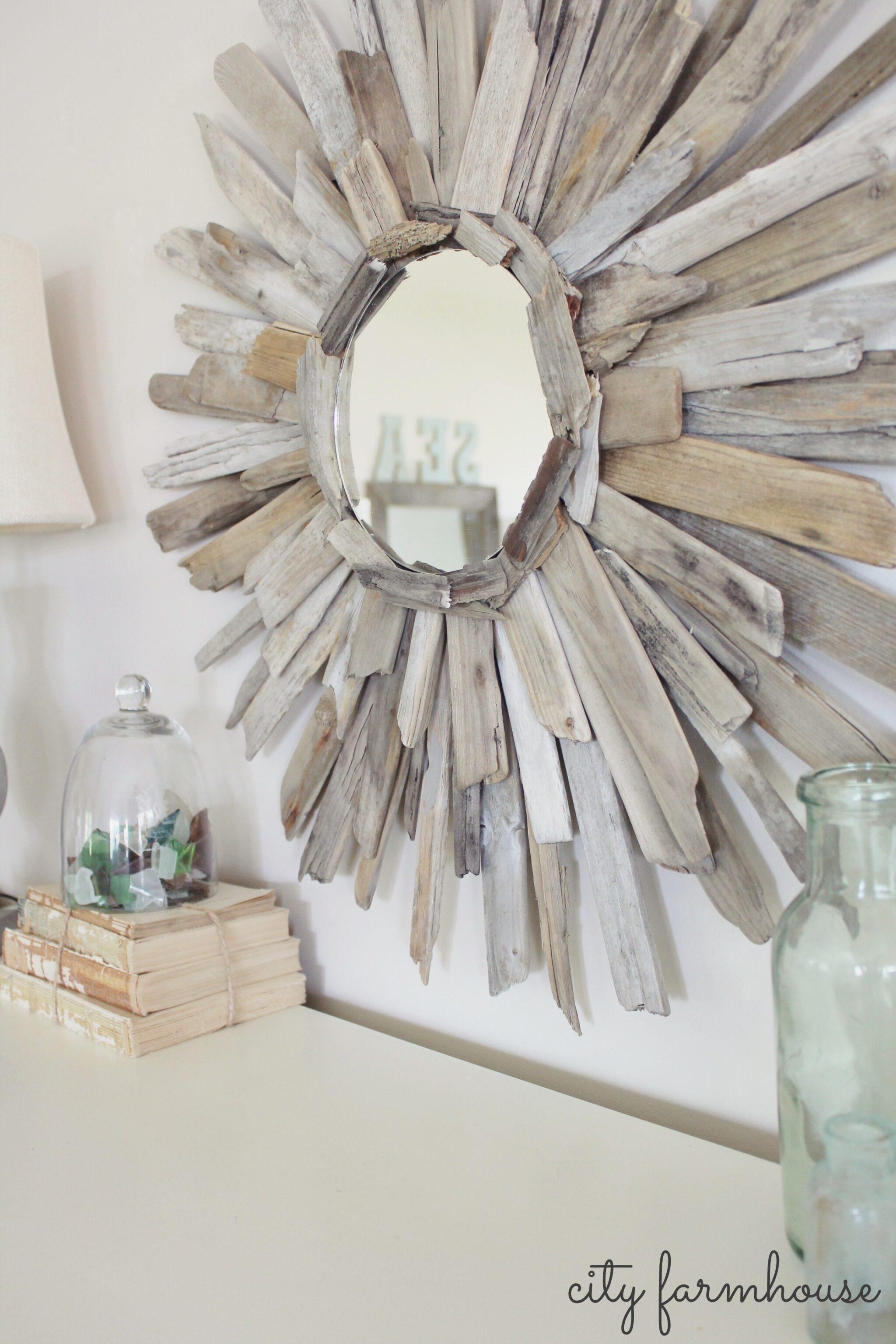 City Farmhouse Diy Thrifty Pretty Driftwood Mirror Budget Friendly Project