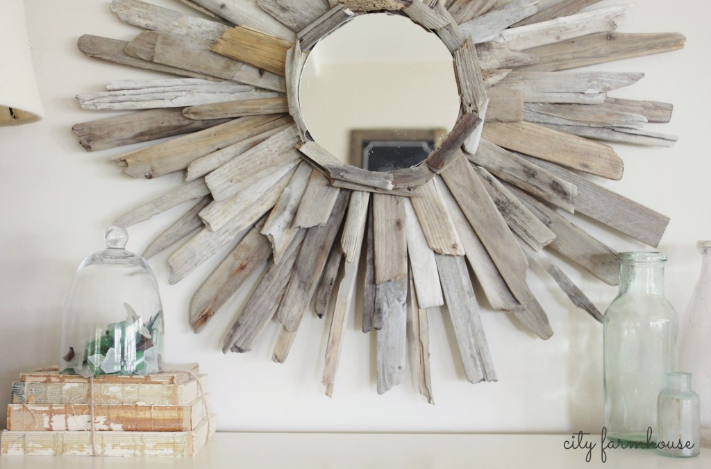 City Farmhouse-DIY Thrifty & Pretty Driftwood Mirror, found wood on Dune Rd-Westhapton