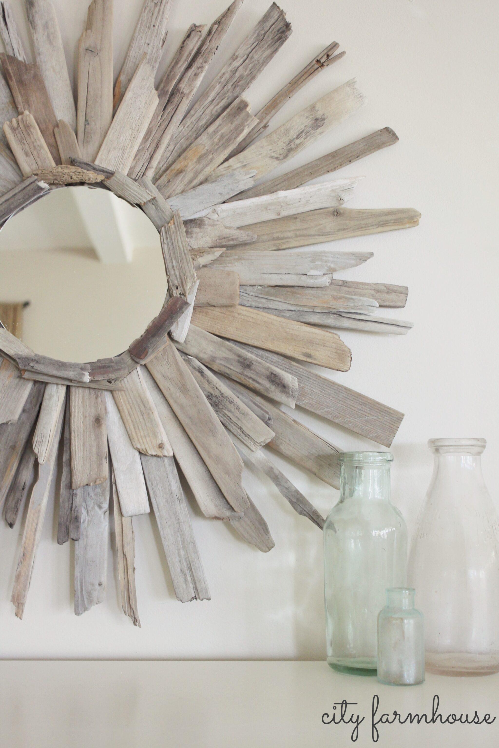 City Farmhouse Diy Thrifty Pretty Driftwood Mirror