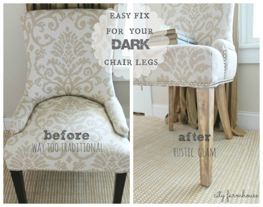 Rustic Glam Chair Makeover-Easy Fix For Those Dark Legs