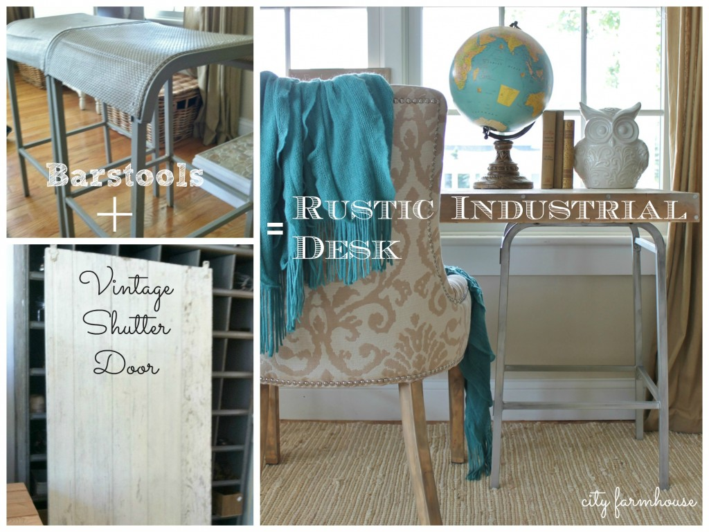 City Farmhouse Barstools + Vintage Beach House Shutter Door = Desk wds