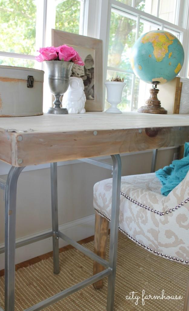 City Farmhouse-Rustic Industrial DIY Barstool Desk-Rustic Glam Chair