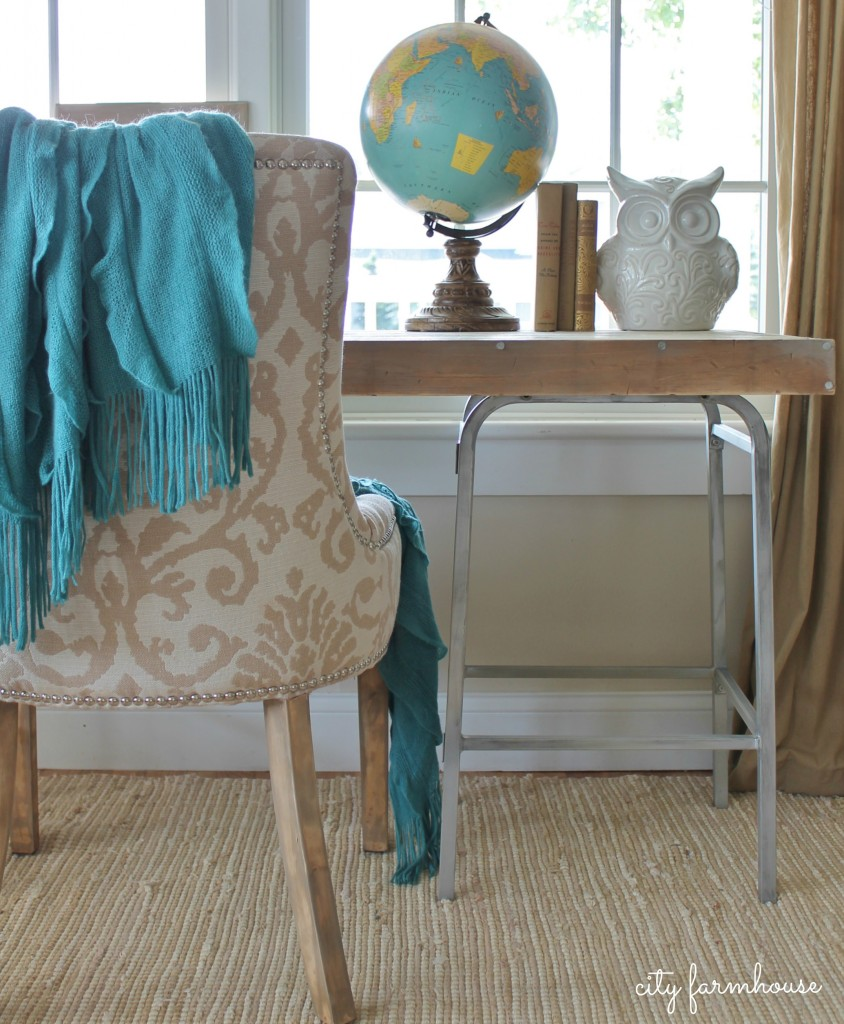 City Farmhouse-Rustic Industrial DIY Barstool Desk With Refinished Chair-Rustic Glam