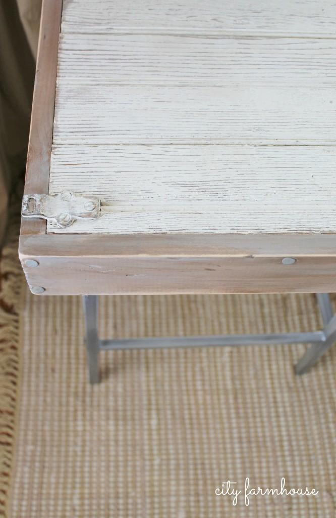 City Farmhouse-Rustic Industrial DIY Barstool Desk With Vintage Shutter Door Top
