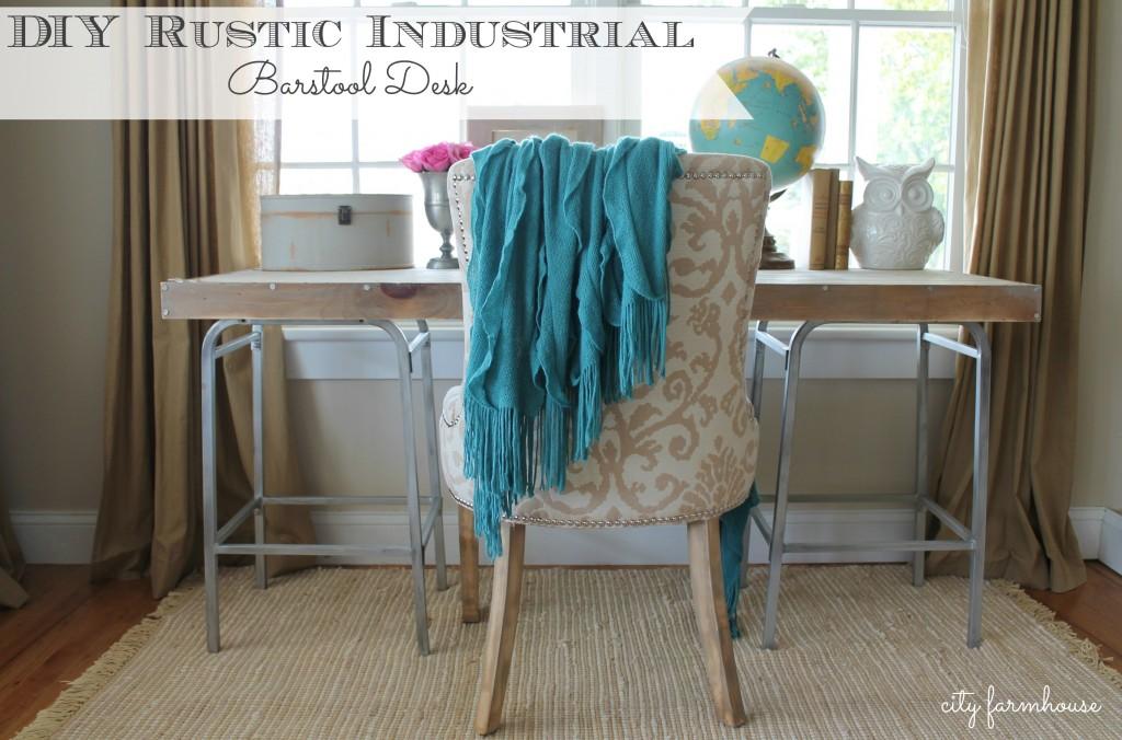 City Farmhouse-Rustic Industrial DIY Barstool Desk