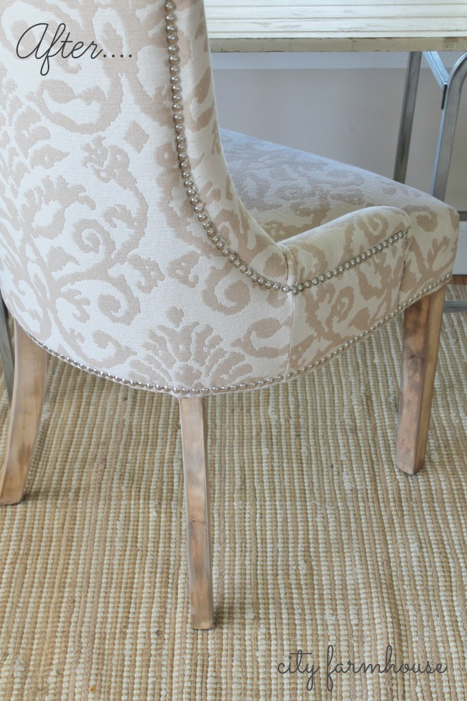 Easy fix for those dark chair legs-the after-City Farmhouse
