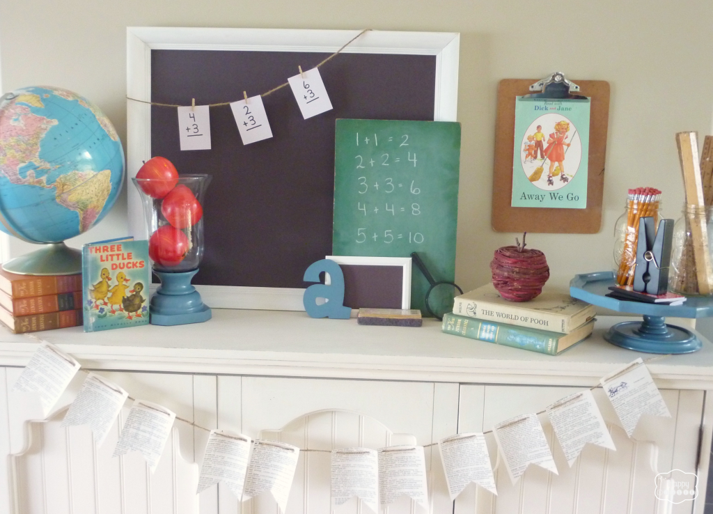 back to school mantel with globe, chalkboards, vintage books, apples, pencils, rulers, DIY dictionary page buntings at thehappyhousie