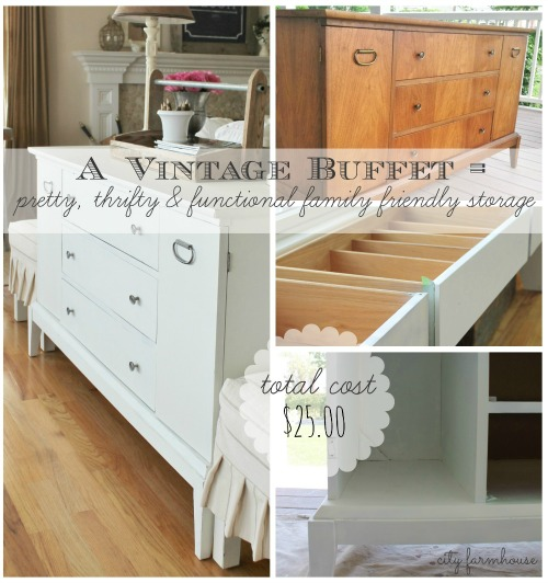 A Vintage Buffet Becomes Pretty, Thrifty & Functional Family Storage