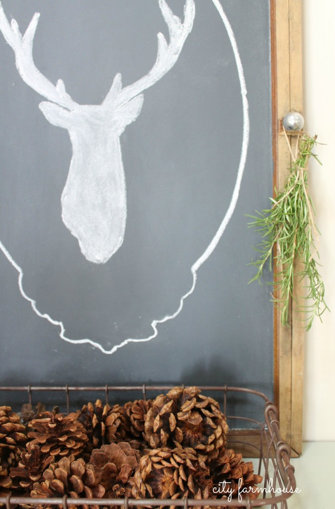 Easiest Way To Make A Chalkboard, Pinecones & Dried Rosemary