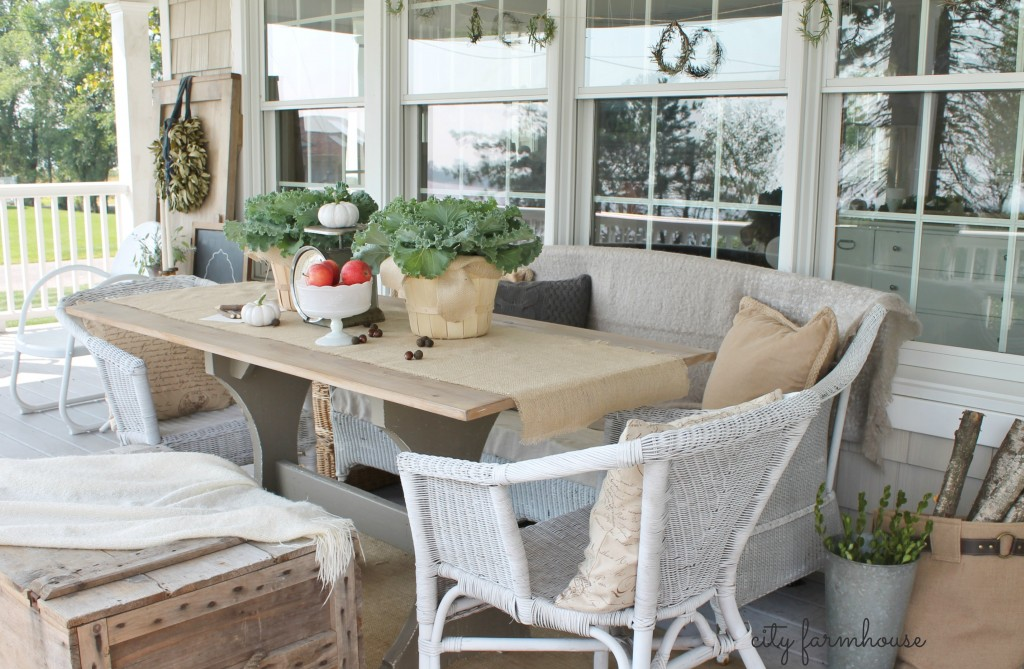 Fall POrch City Farmhouse Harvest Table & SEating