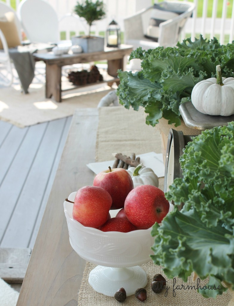 Fall Porch City Farmhouse Cabbage, Apples & Pumpkins