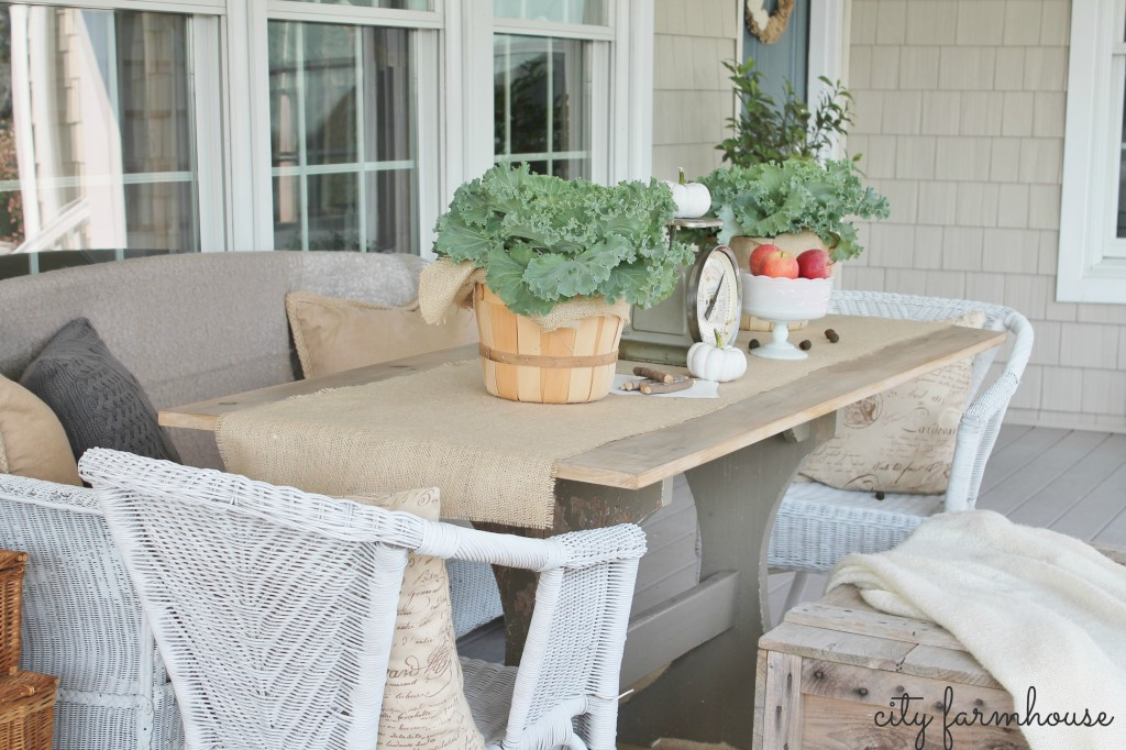 Fall Porch City Farmhouse Front Door & Table