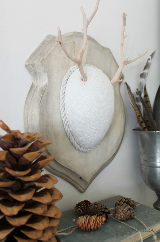 DIY Faux Driftwood Deer Antler & Neutral Palette & Texture-Perfect for Fall-City Farmhouse