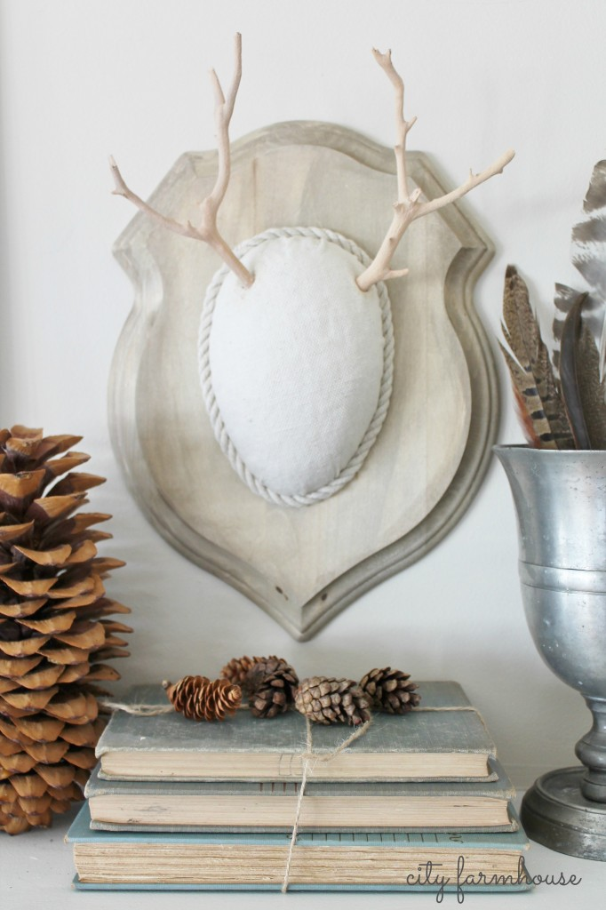 DIY Faux Driftwood Deer Antler & Neutral Tones & Texture-Perfect for Fall-City Farmhouse