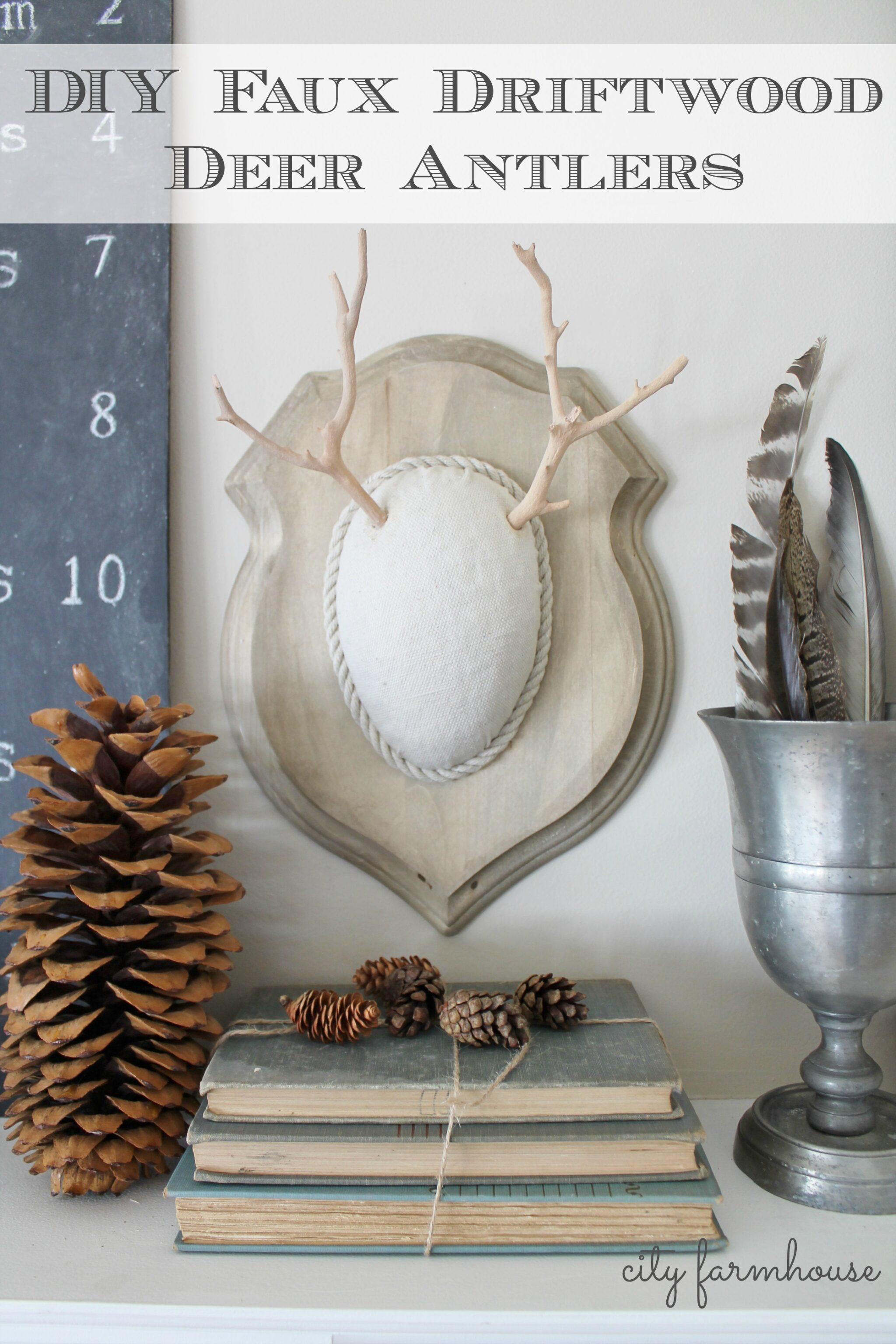 DIY Faux Driftwood Deer Antlers