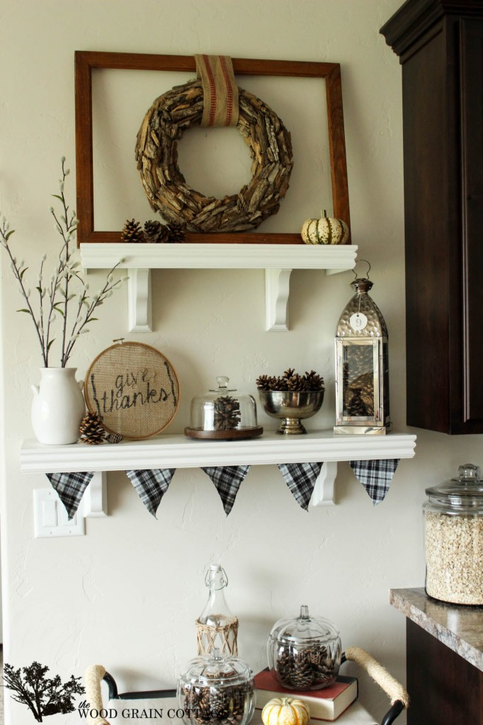 Fall Shelving Display by The Wood Grain Cottage