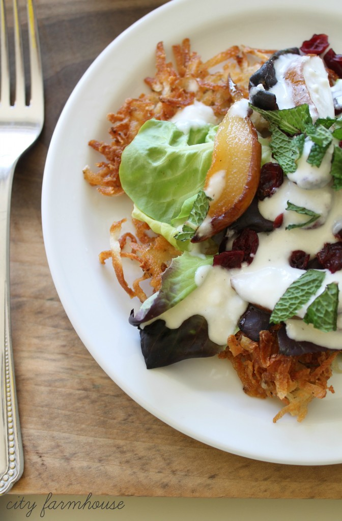 Roasted Pear & Potatoe Fritter Harvest Salad-Layered with Goat Cheese & Mint-Taste of Seasons-City Farmhouse