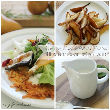 Roasted Pear & Rosemary Potato Fritter Harvest Salad-Taste of Seasons