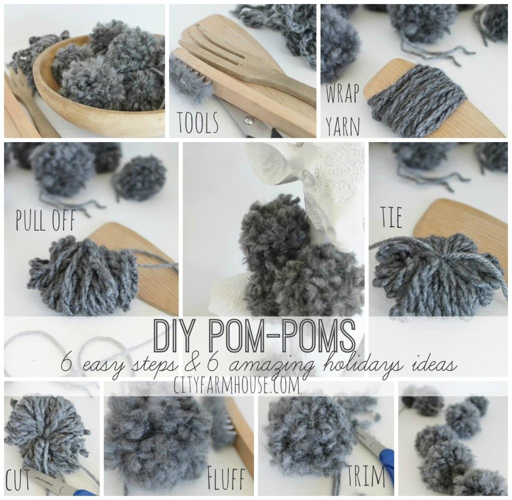 City Farmhouse-DIY POm-Poms-6 easy Steps & 6 Amazing Holiday Ideas Tutorial
