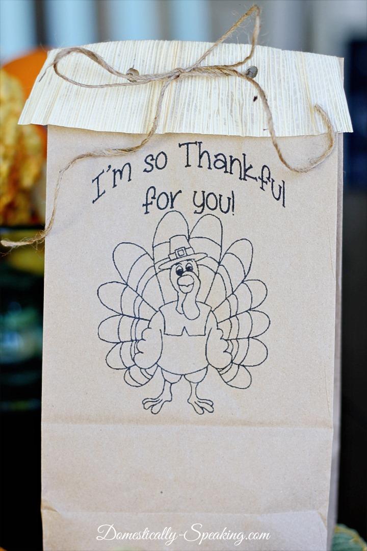 Free Thanksgiving Goodie Bag Printable