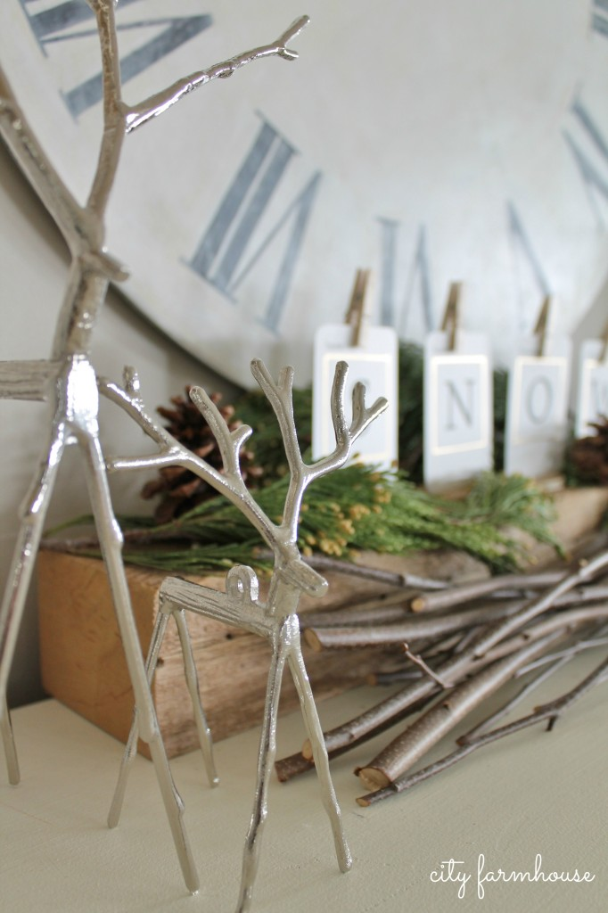 City Farmhouse Family Room Holiday Details-Reindeer from Pottery Barn