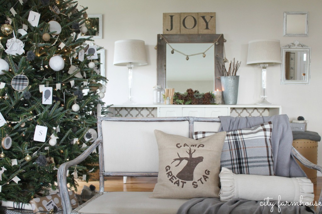 City Farmhouse Family Room Holiday Tour-IKEA Hacked Pillow