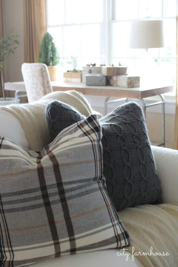 City Farmhouse Family Room Holiday Tour-IKEA Hacked Pillows