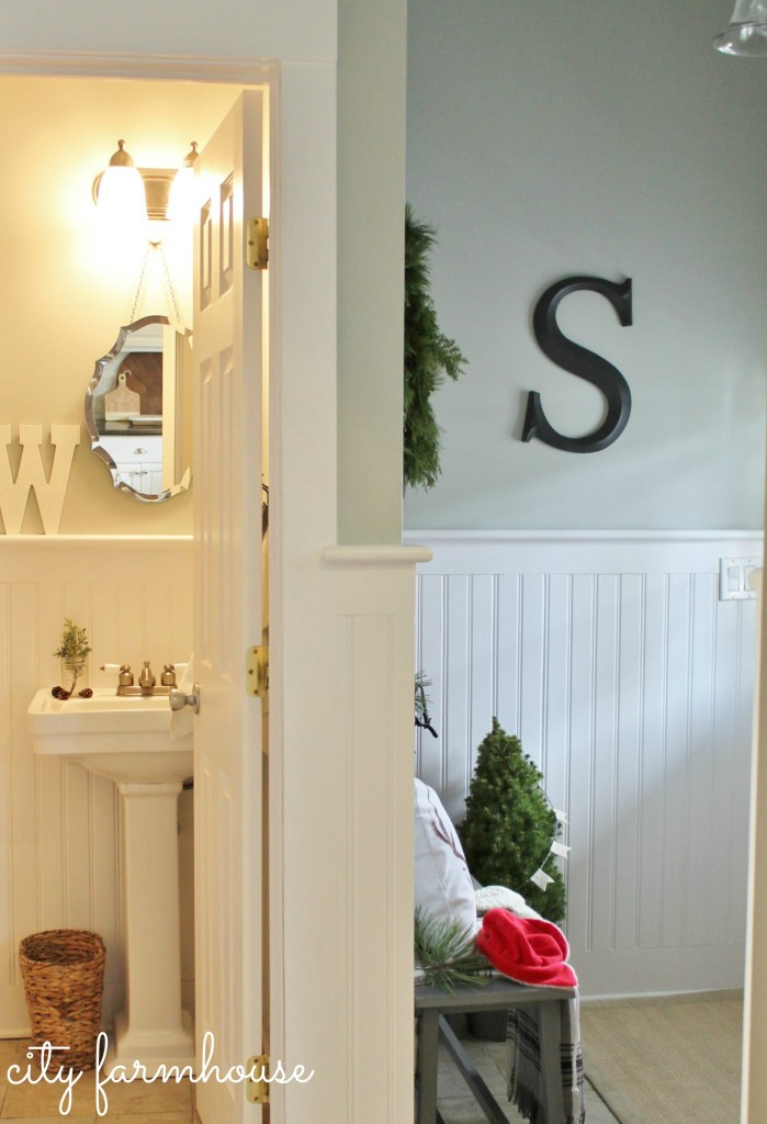 City Farmhouse (Farmhouse Christmas)  Mudroom  & Bathroom