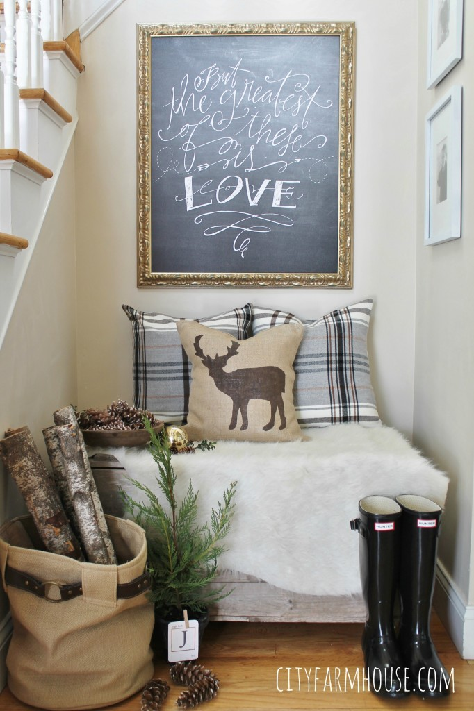 City Farmhouse-Holiday Nook-Using Textures, Natural Elements and Lindsey Letters Beautiful Canvas