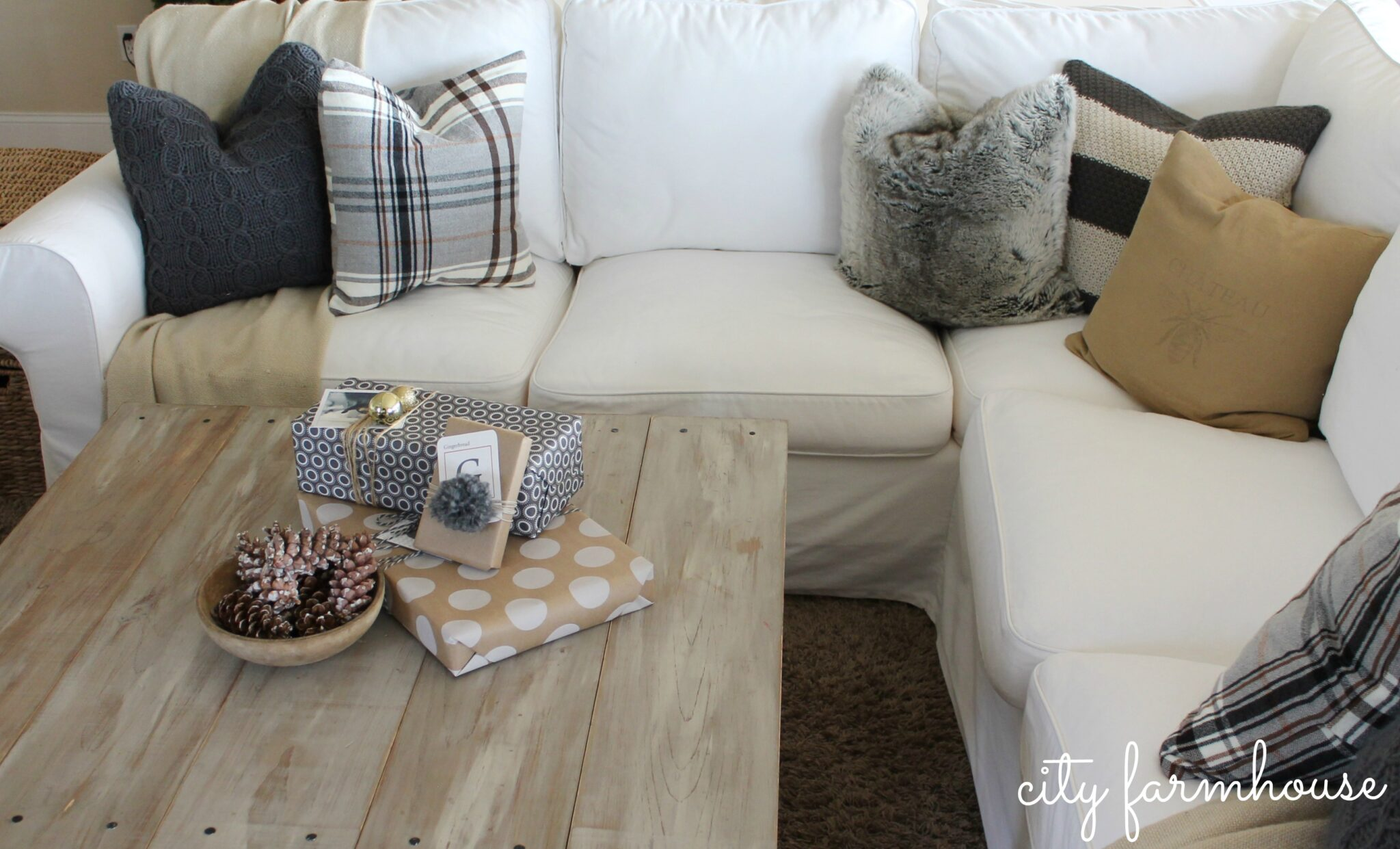 Ikea Hack DIY Plaid Pillows from a throw City Farmhouse