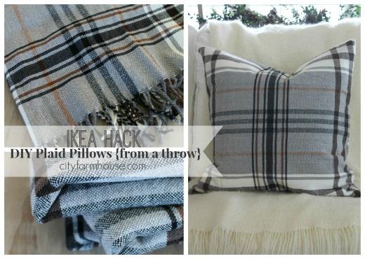 City Farmhouse-IKEA Hack-Diy Pillows from a  throw feature