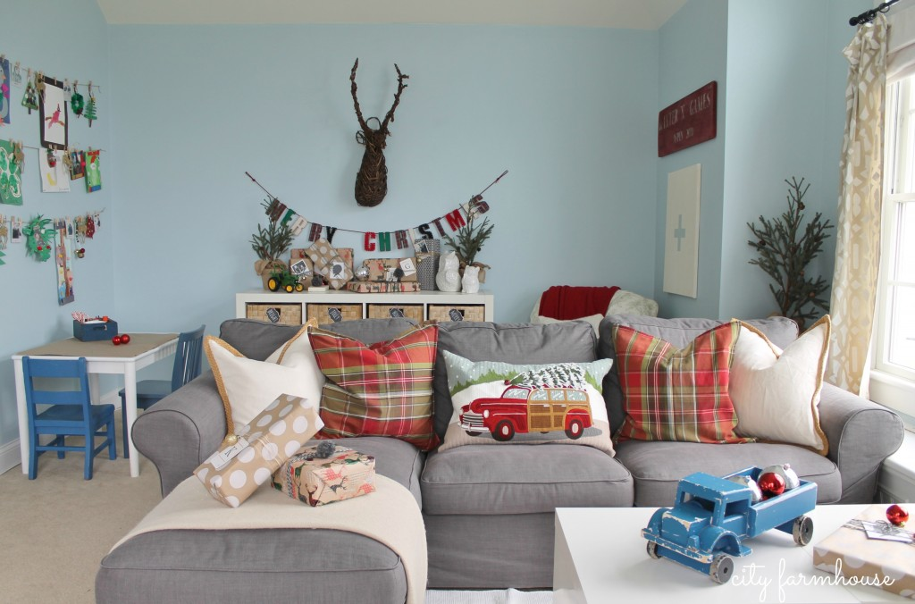 City farmhouse Holiday Playroom-Colorful details-Fun Pillows from PB