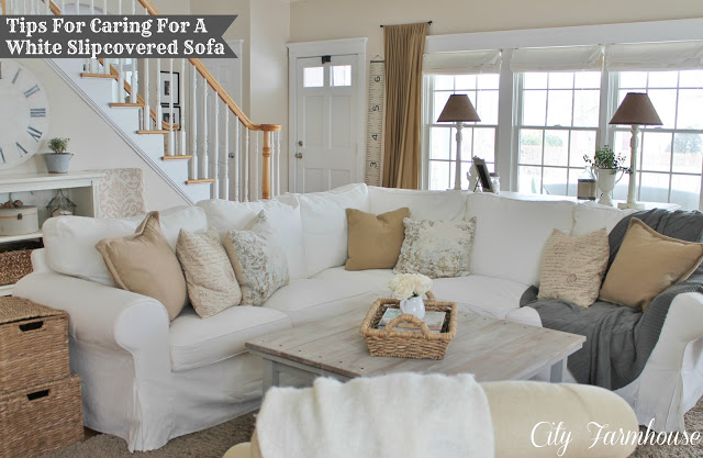 Real Life With White Slipcovers & Keeping Them Pretty City Farmhouse