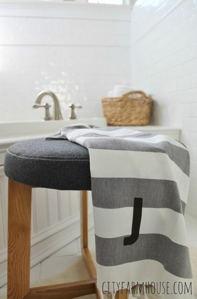 All White Bathroom with natural touches, sisal, charcoal gray & whites Sneak Peak City Farmhouse