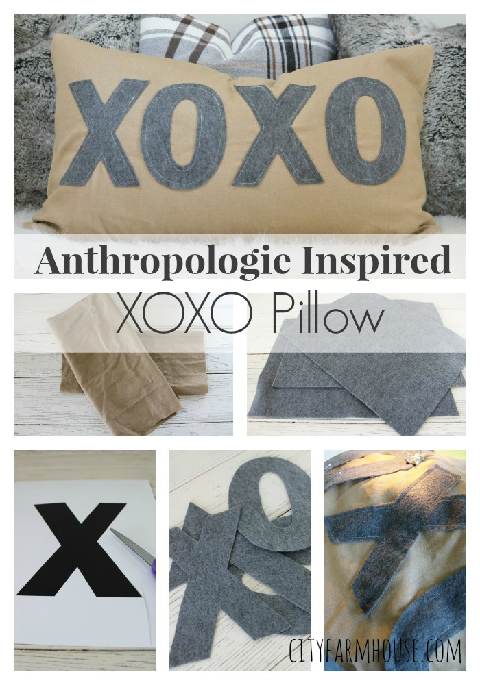 Anthropologie Inspired Pillow XOXO- City Farmhouse Felt Letters & Washed Linen Collage