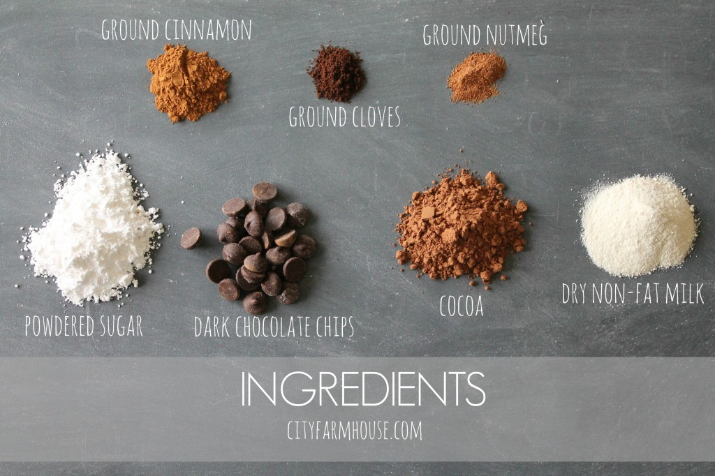 DIY Spiced Dark Hot Chocolate Ingredients {City Farmhouse}