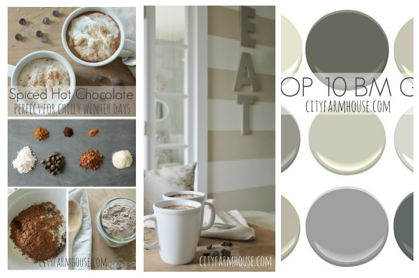 Spiced Dark Hot Chocolate & Top 10 Benjamin Moore Grays- City Farmhouse Linky Party #34